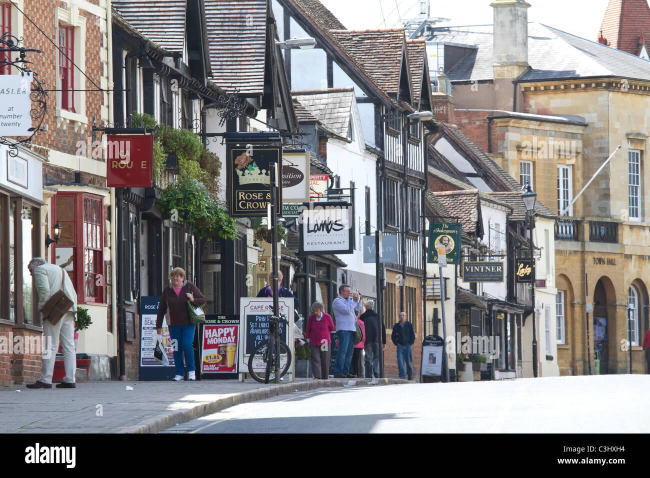 Stratford upon Avon, Warwickshire, England, UK. Sheep Street. - Stock Image