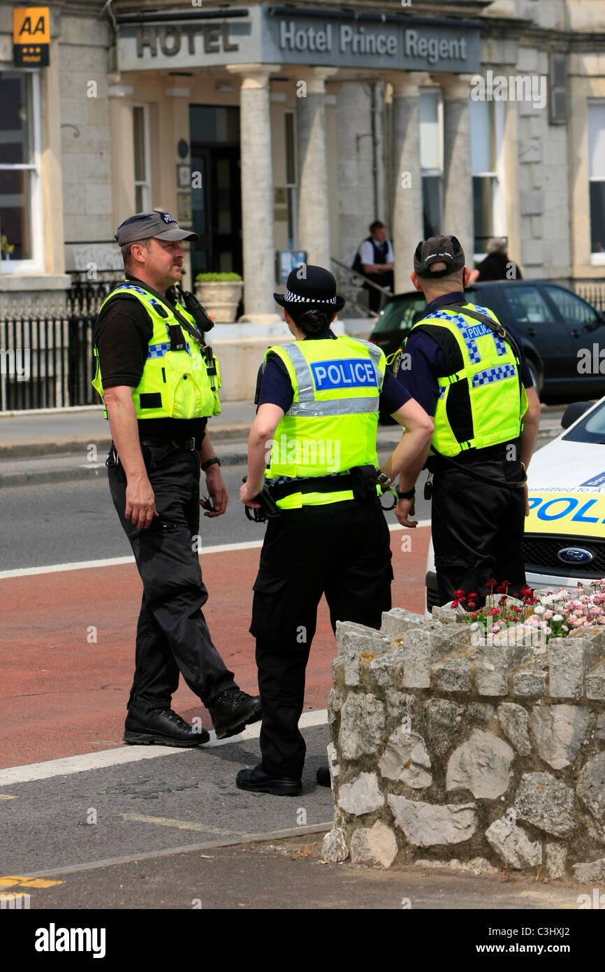 Specialist Police Officers on duty in Weymouth during an EDl Demonstration - Stock Image