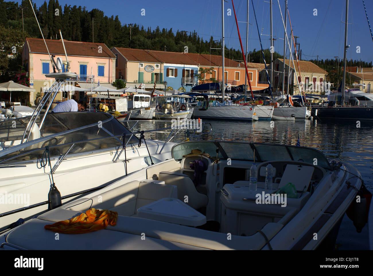 Boats at the village of Fiscardo, Kefallonia, Greece - Stock Image