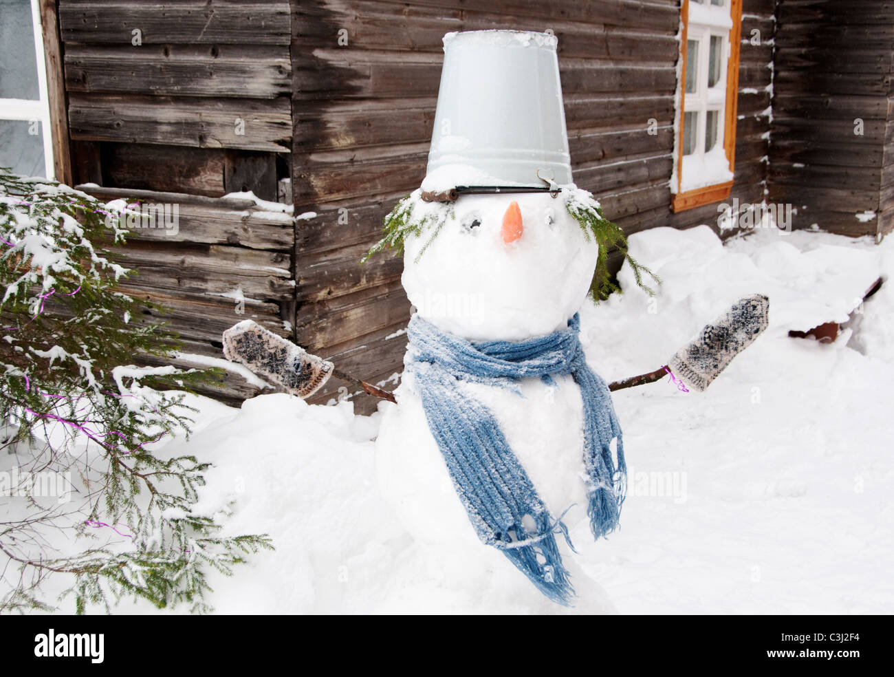 Snowman, Leningrad region, Russia - Stock Image