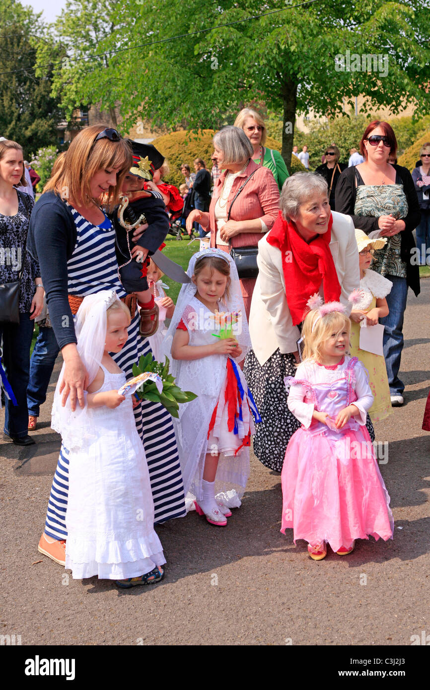 Pre-School girls dressed in weddings gowns at a Royal wedding Stock ...
