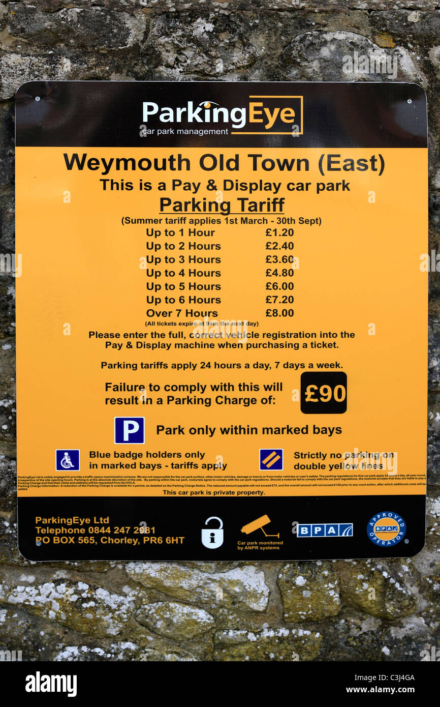 Parking Eye - New tariffs for parking in Weymouth with Numberplate recognition printed labels. - Stock Image