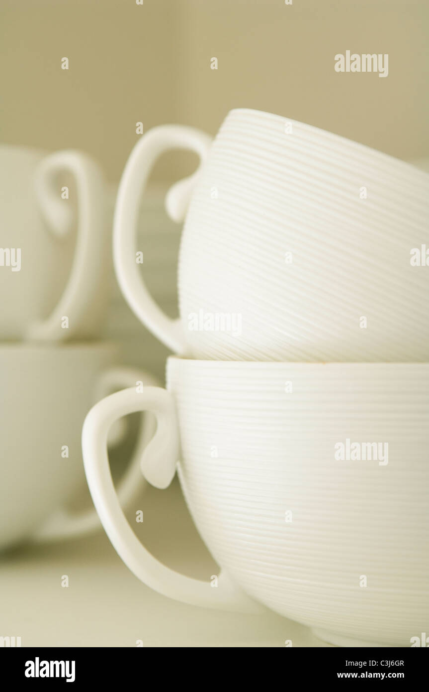 Detail of JL Coquet Hemisphere white cups. - Stock Image