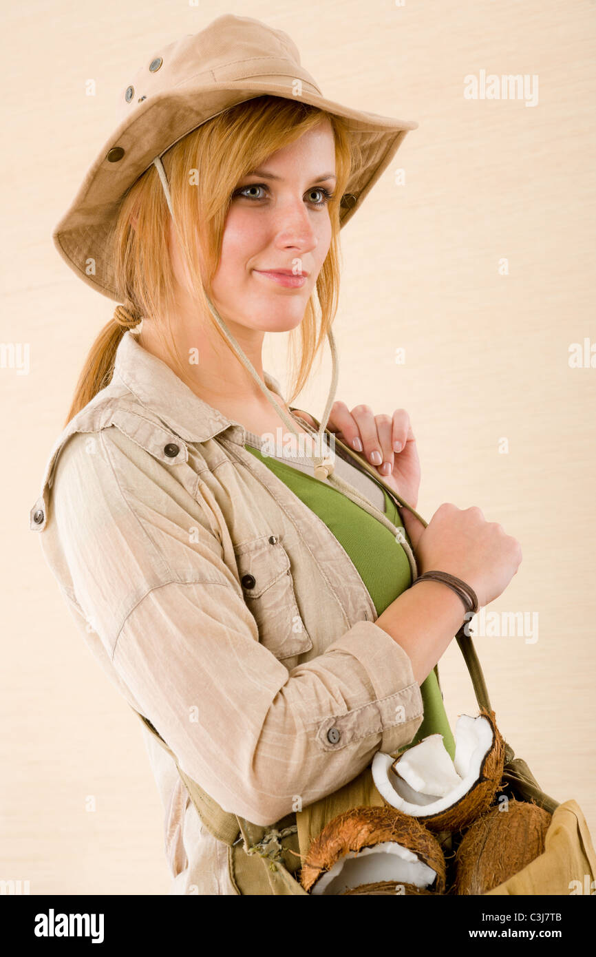 ff6ba139792ab Portrait of happy young woman with safari hat Stock Photo  36666011 ...