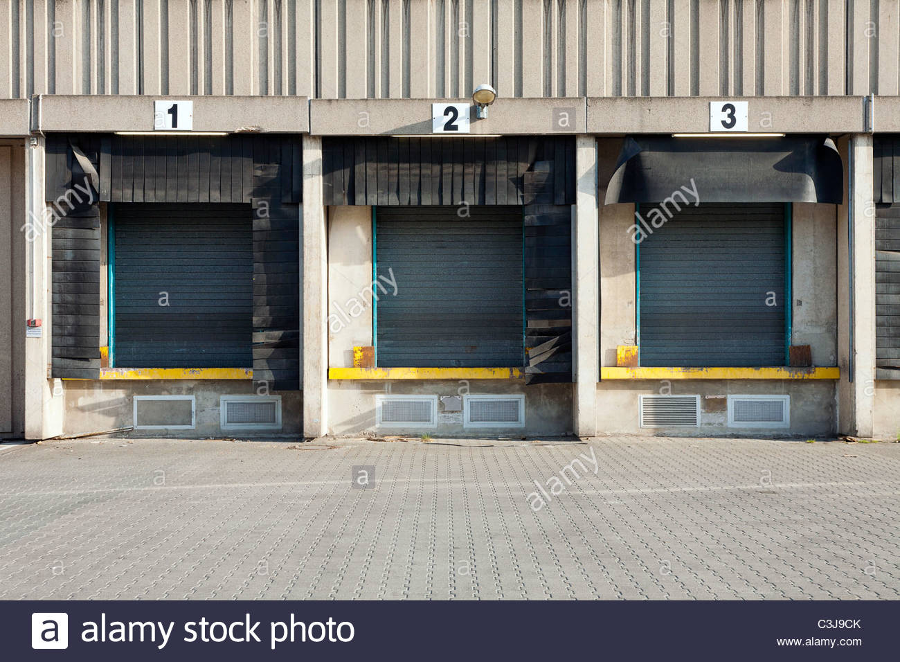 Commercial shipping warehouses and loading docks. Berlin, Germany - Stock Image