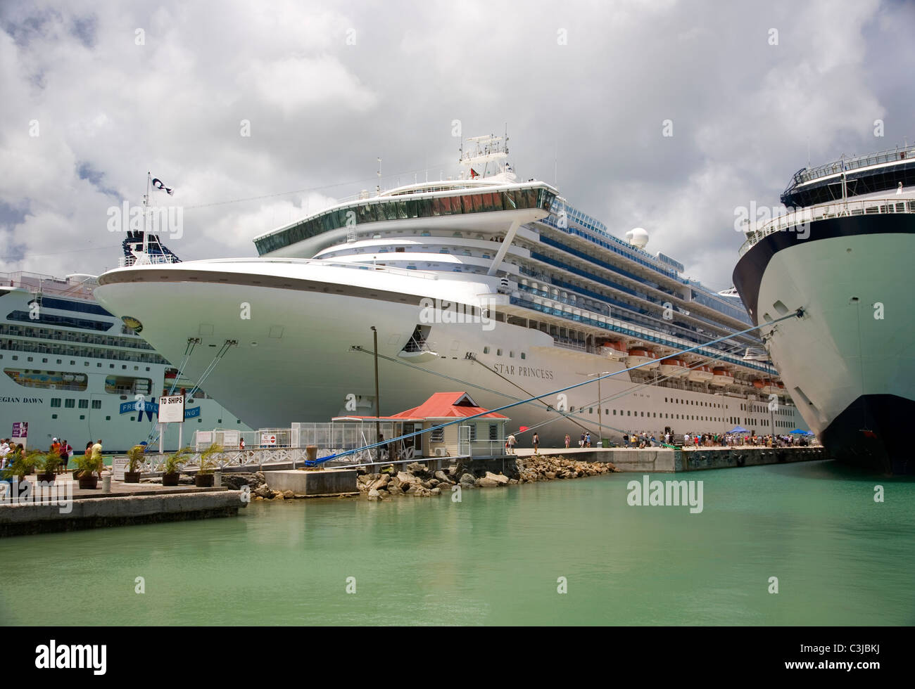 Three Cruise Liners at Dock in Antigua - Stock Image