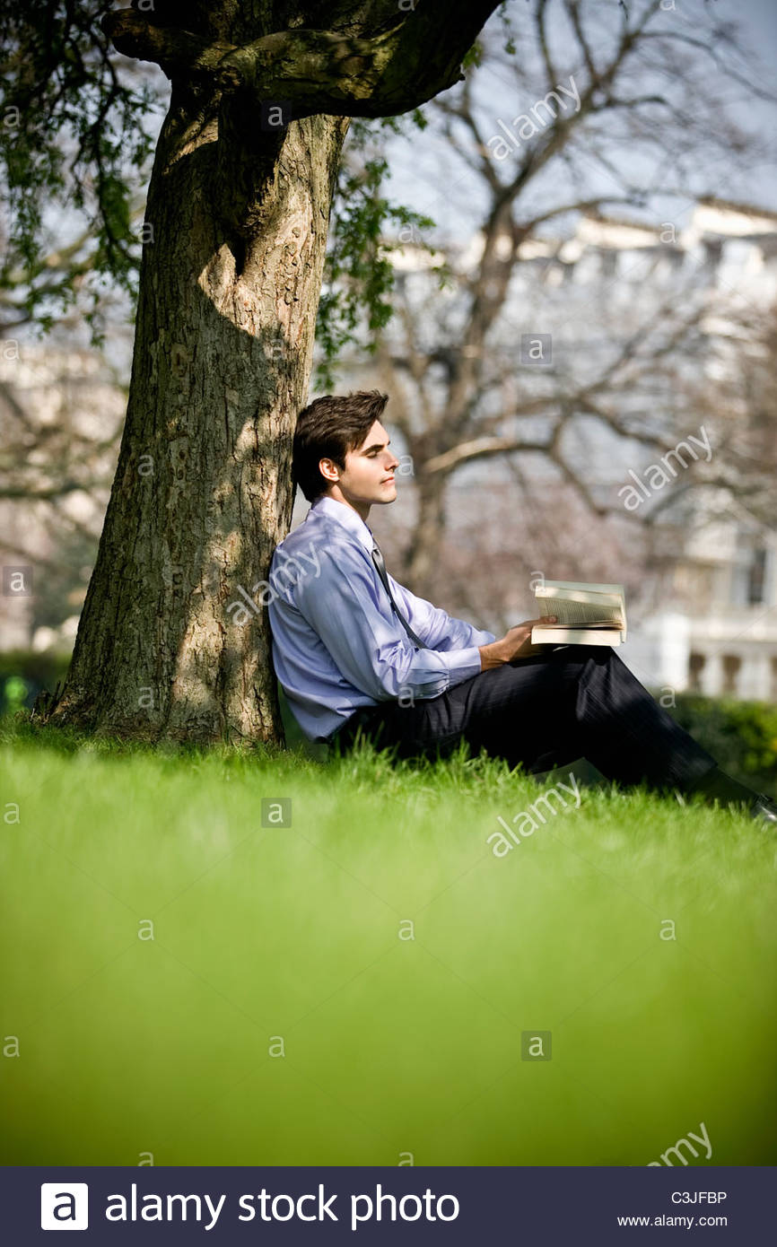 A businessman leaning against a tree, holding a book - Stock Image