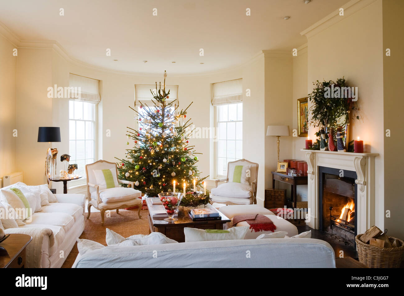 Christmas tree decorated with baubles in regency living room with armchairs and fireplace - Stock Image