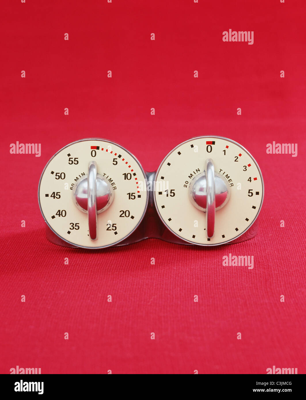 Double kitchen timer. - Stock Image