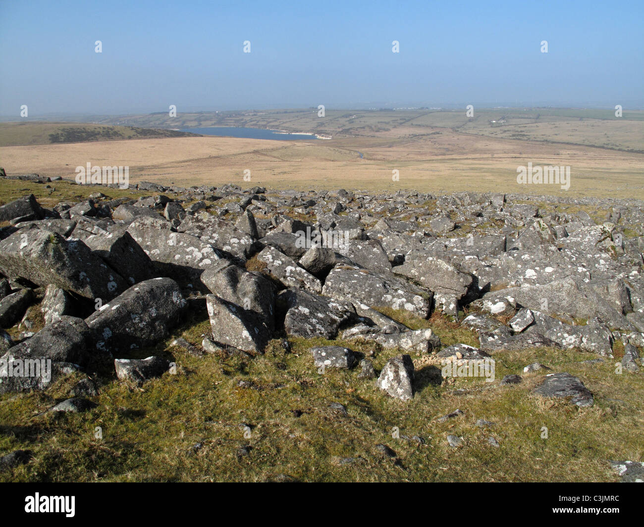 Rocky moorland lanscape from the top of Roughtor, Bodmin Moor, Cornwall - Stock Image