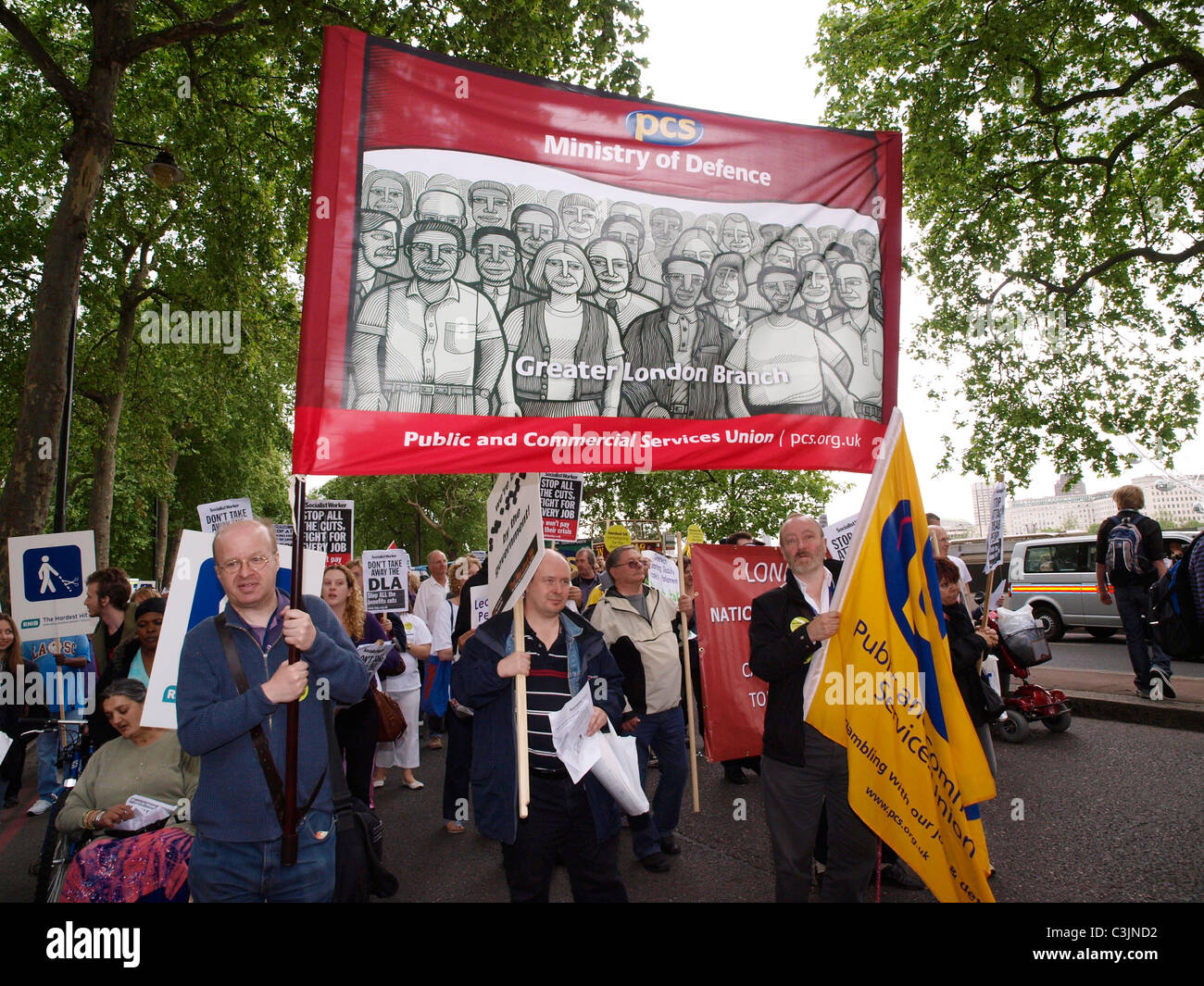 The Hardest Hit March Westminster London 2011. Disabled people and supporters march to demonstrate against public - Stock Image