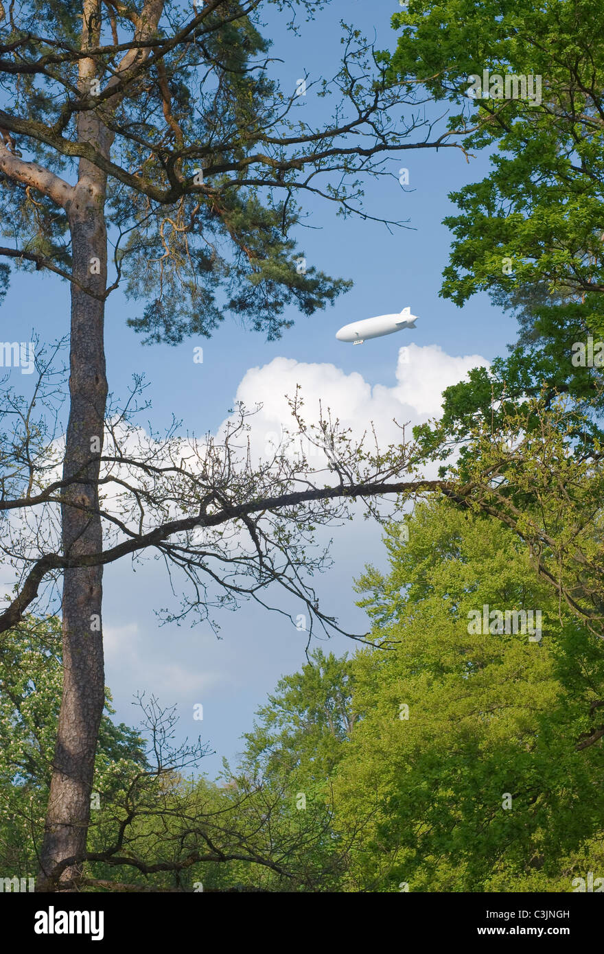 View of Blimp Through a Wooded Landscape - Stock Image
