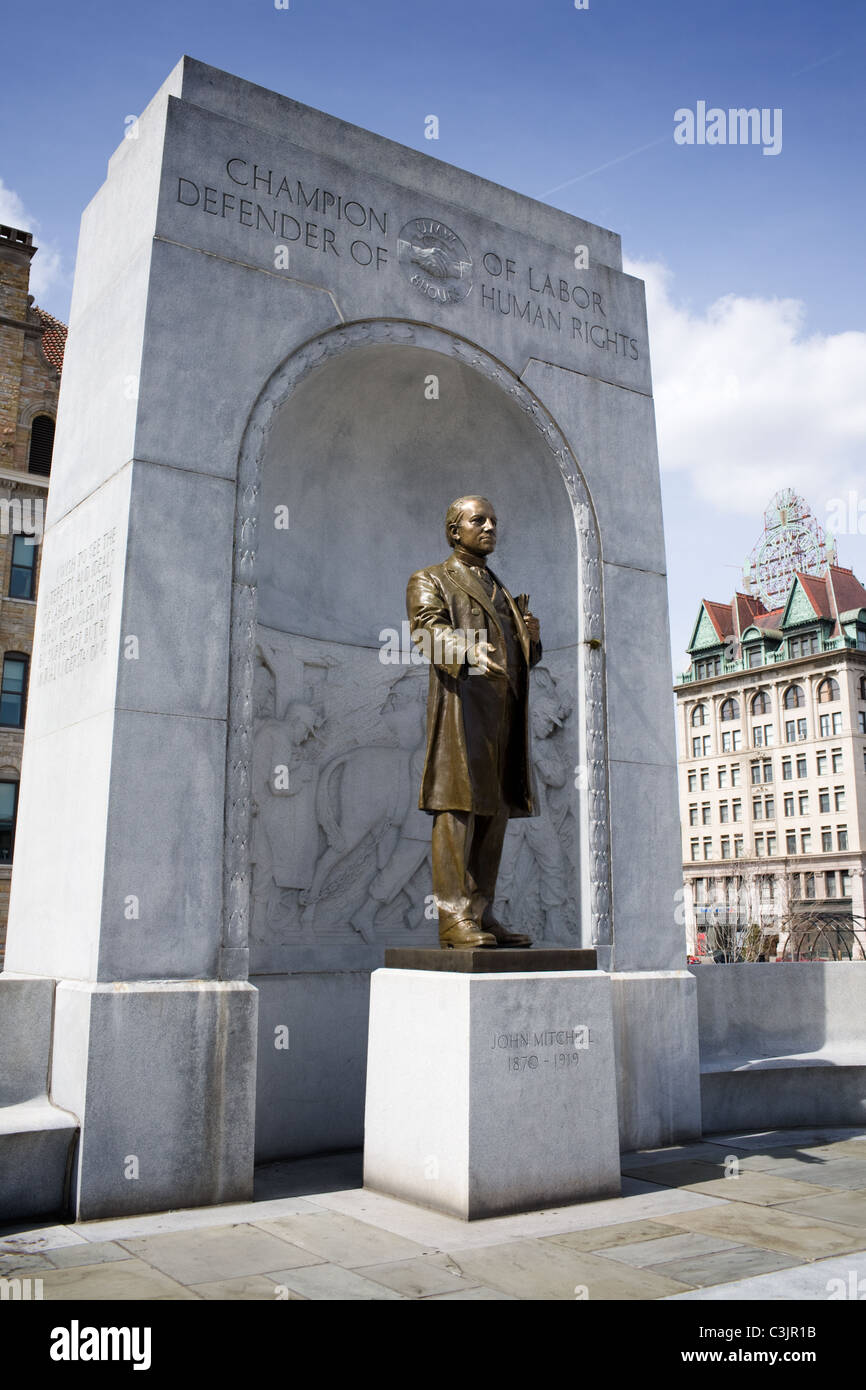 Statue honors John Mitchell, labor leader, President of United Mine Workers, Scranton, Pennsylvania - Stock Image