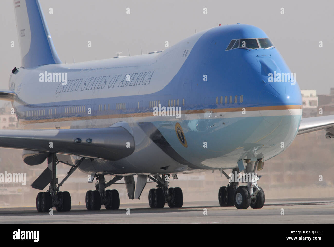 US President Barack Obama arrives in Cairo to make a major policy speech to the Islamic World at Cairo University. - Stock Image