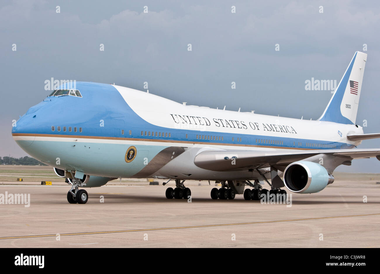 Air Force One, the U.S. Air Force jet carrying the President of the United States, lands in Austin Texas USA - Stock Image
