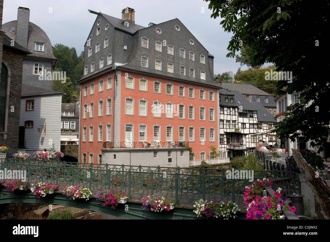 Monschau Rotes Haus Haus Scheibler Stock s & Monschau