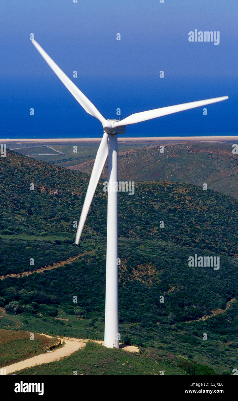 Windmill for electricity production.Tarifa. Cadiz province.Andalusia.Spain. - Stock Image