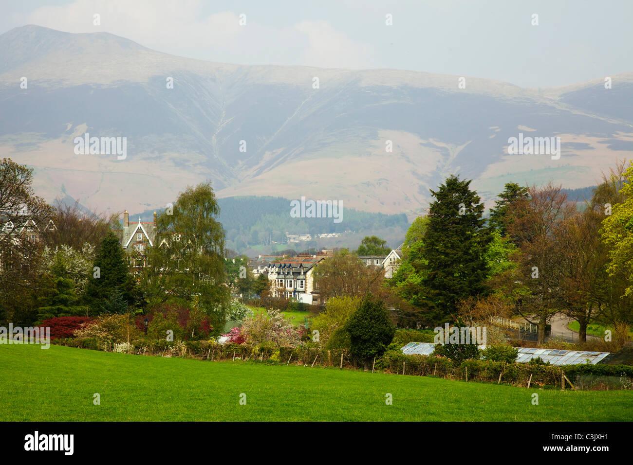Keswick town and hills, Lake District - Stock Image
