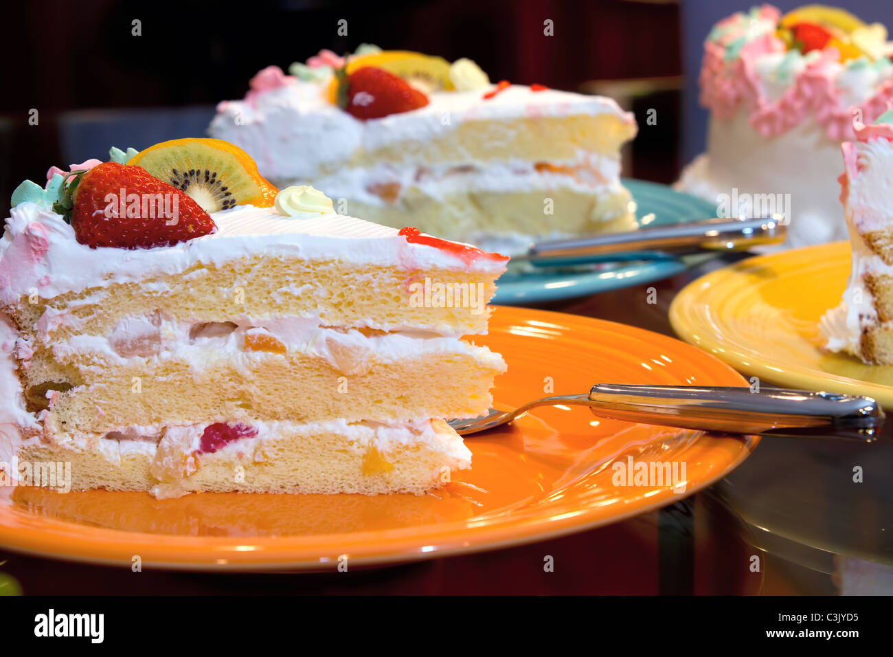 Happy Birthday Cake with Fresh and Canned Fruits Layered with