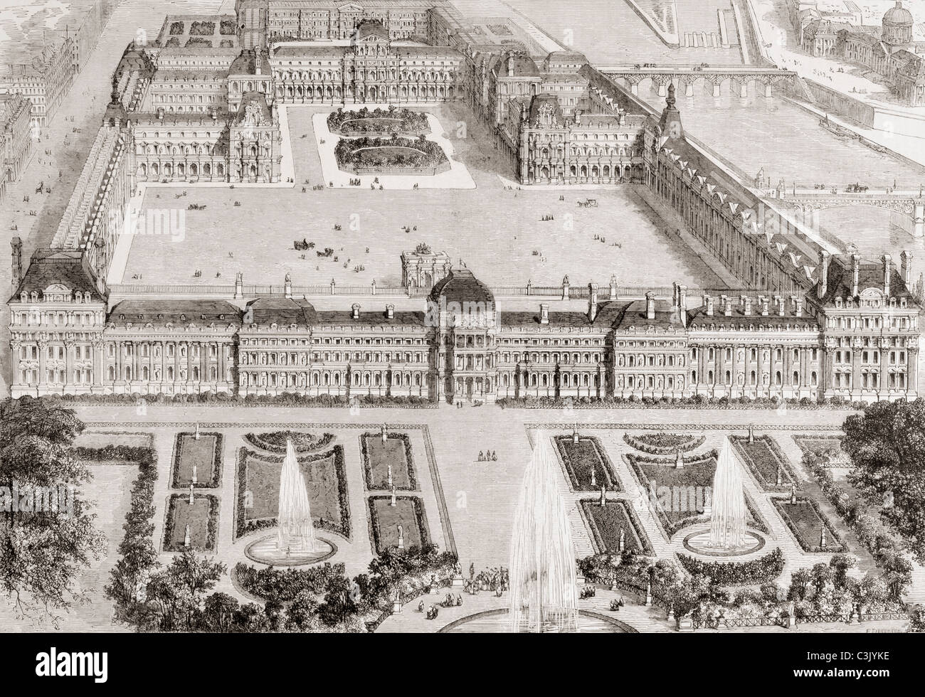 View of the new gardens of the Tuileries Palace and the new and the old Louvre, Paris, France, in the 19th century. - Stock Image