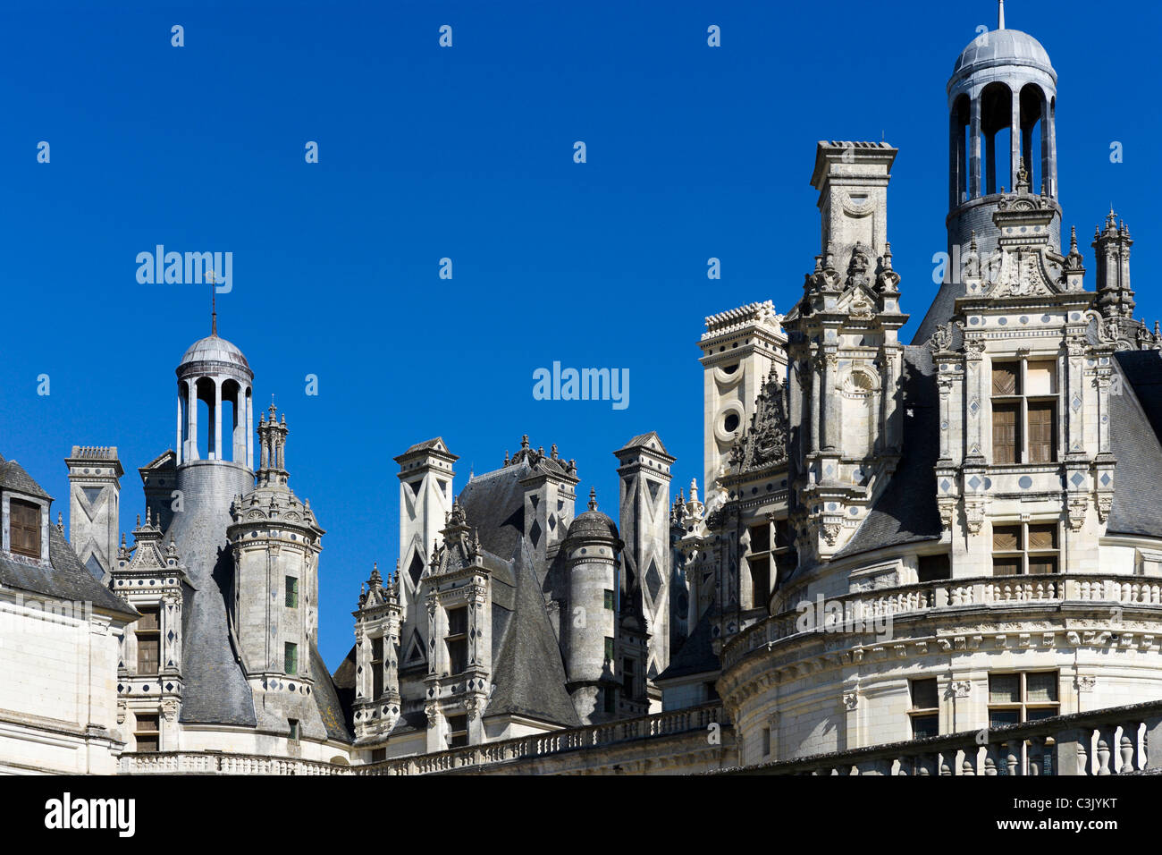 Multiple chimneys on the roof of the Chateau de Chambord, Loire Valley, Touraine, France - Stock Image