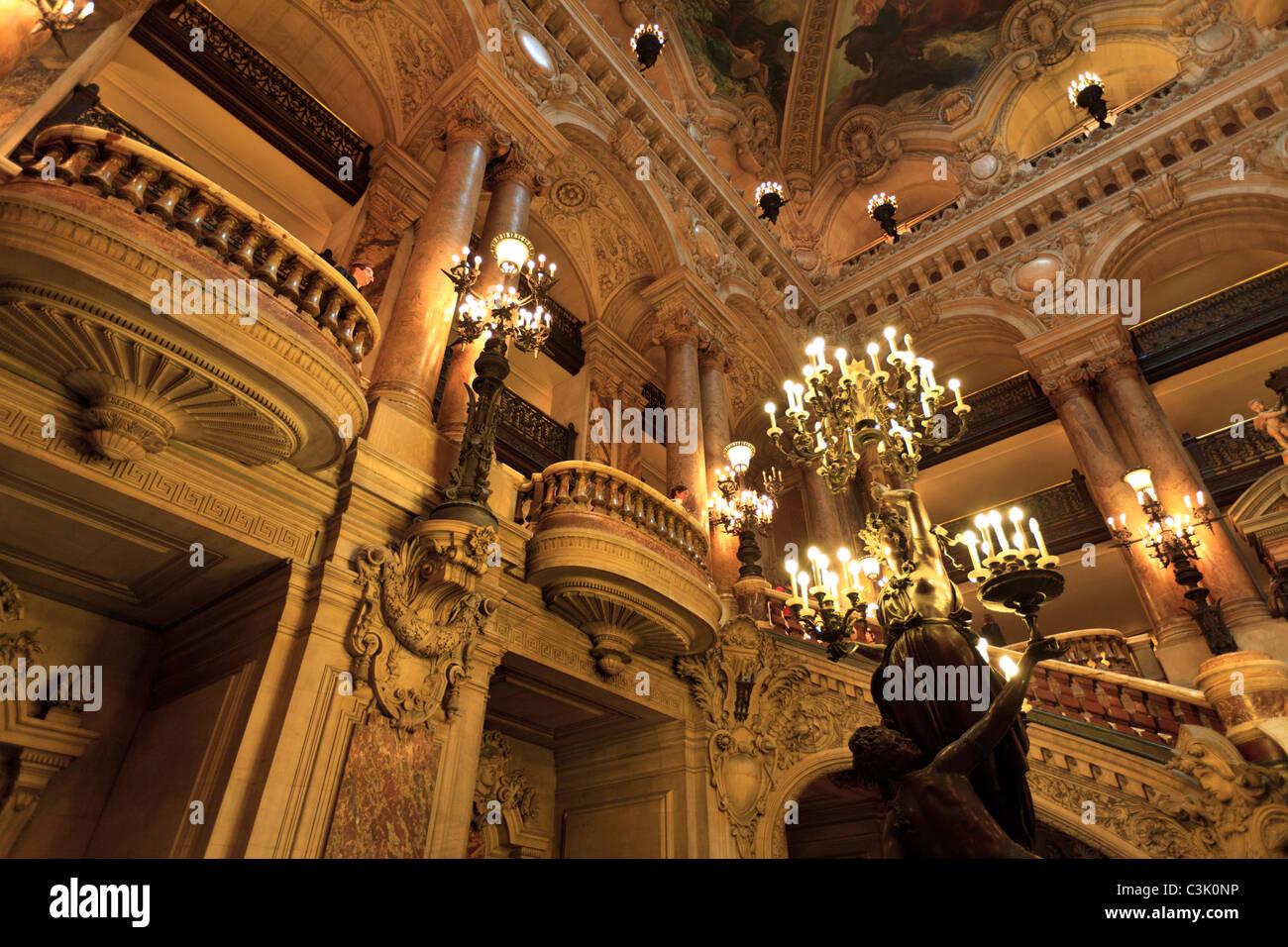 Interior of the Opera Garnier, Paris, France - Stock Image