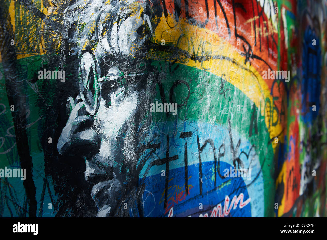 The John Lennon graffiti Wall in Prague, Czech Republic Stock Photo