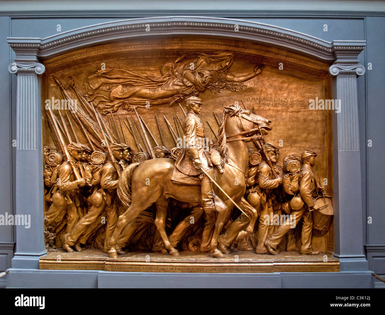 An 1897 sculpture at the National Gallery of Art in Washington, D.C. by Augustus Saint-Gaudens portrays Civil War - Stock Image
