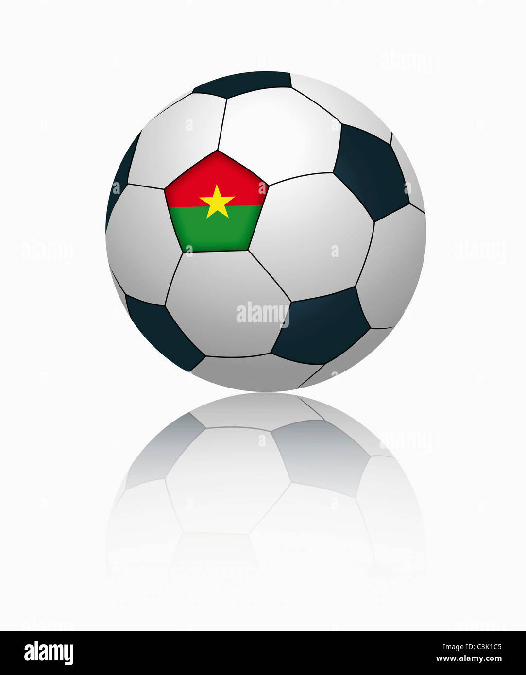 Burkina faso flag on football, close up - Stock Image