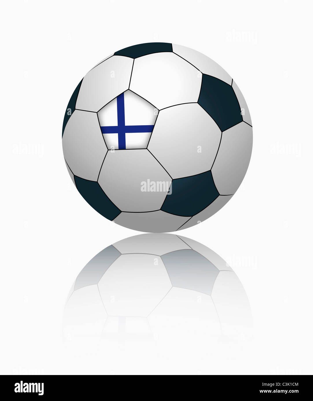 Finnish flag on football, close up Stock Photo