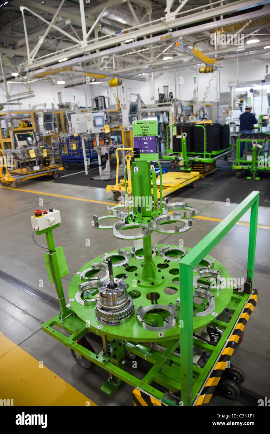 Automated Cart Delivers Parts at General Motors' Toledo Transmission Plant - Stock Image