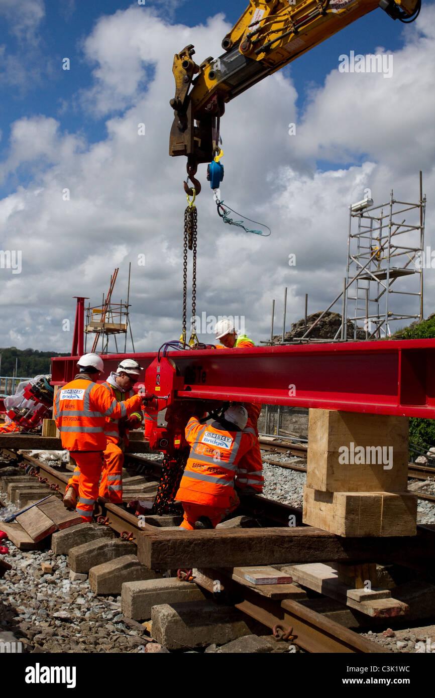 Network Rail structural improvements, track renewal, bridge repairs & infrastructure enhancements to Arnside 150 Stock Photo