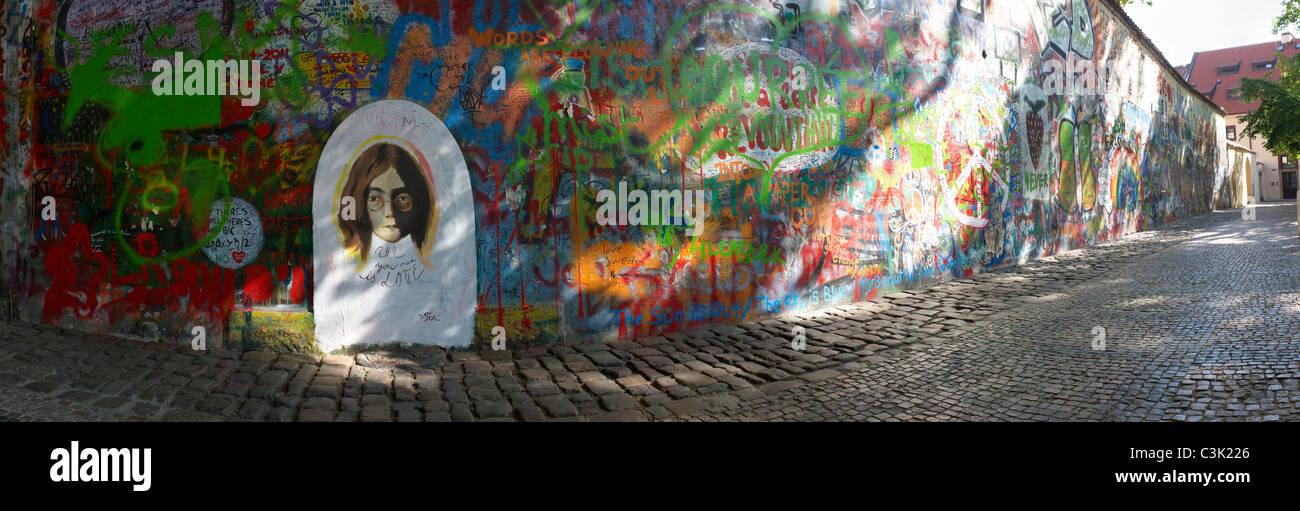 The John Lennon graffiti Wall in Prague, Czech Republic - Stock Image