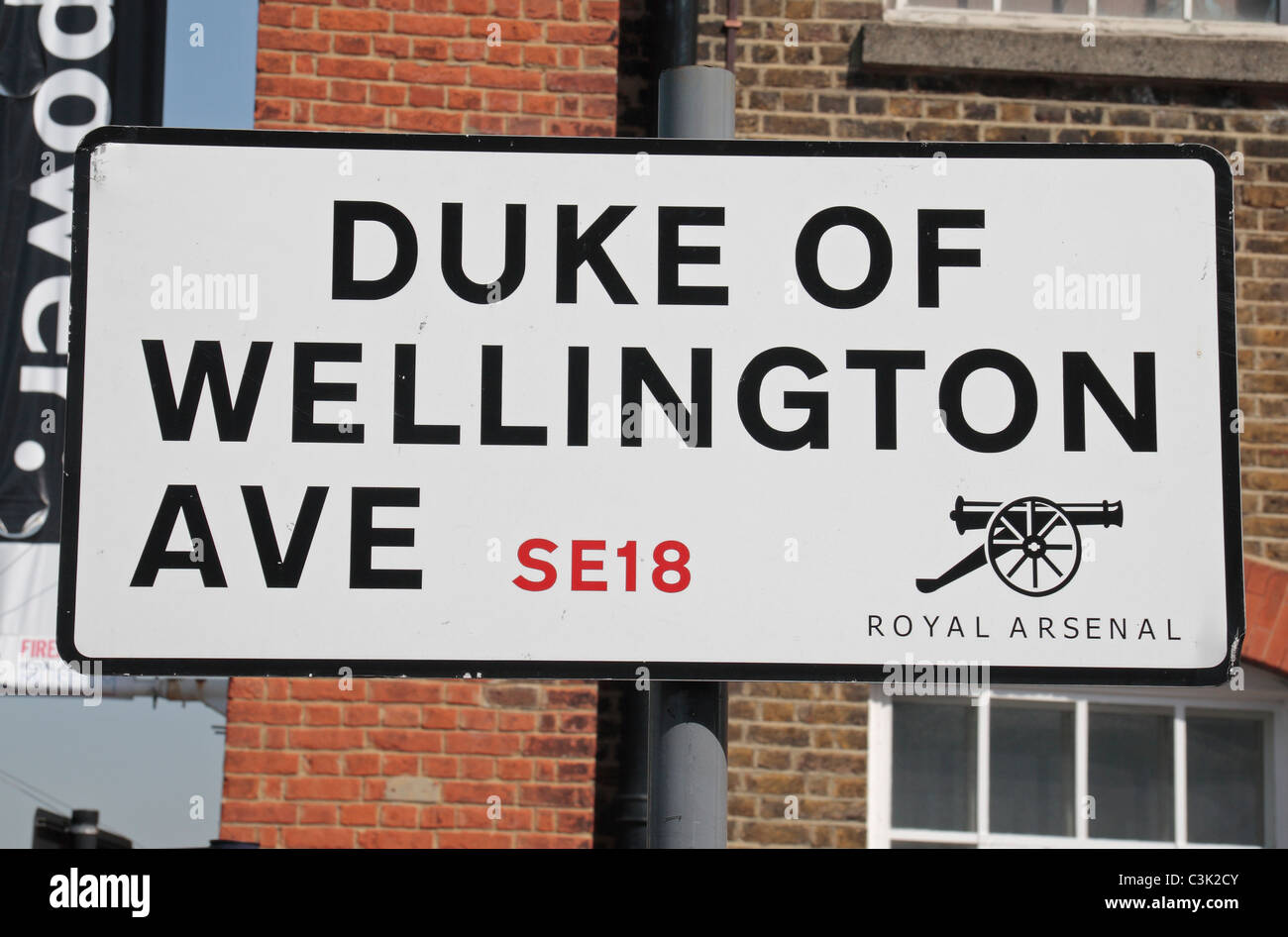 Road sign for 'Duke of Wellington Ave', Royal Arsenal, Woolwich, East London, UK. - Stock Image