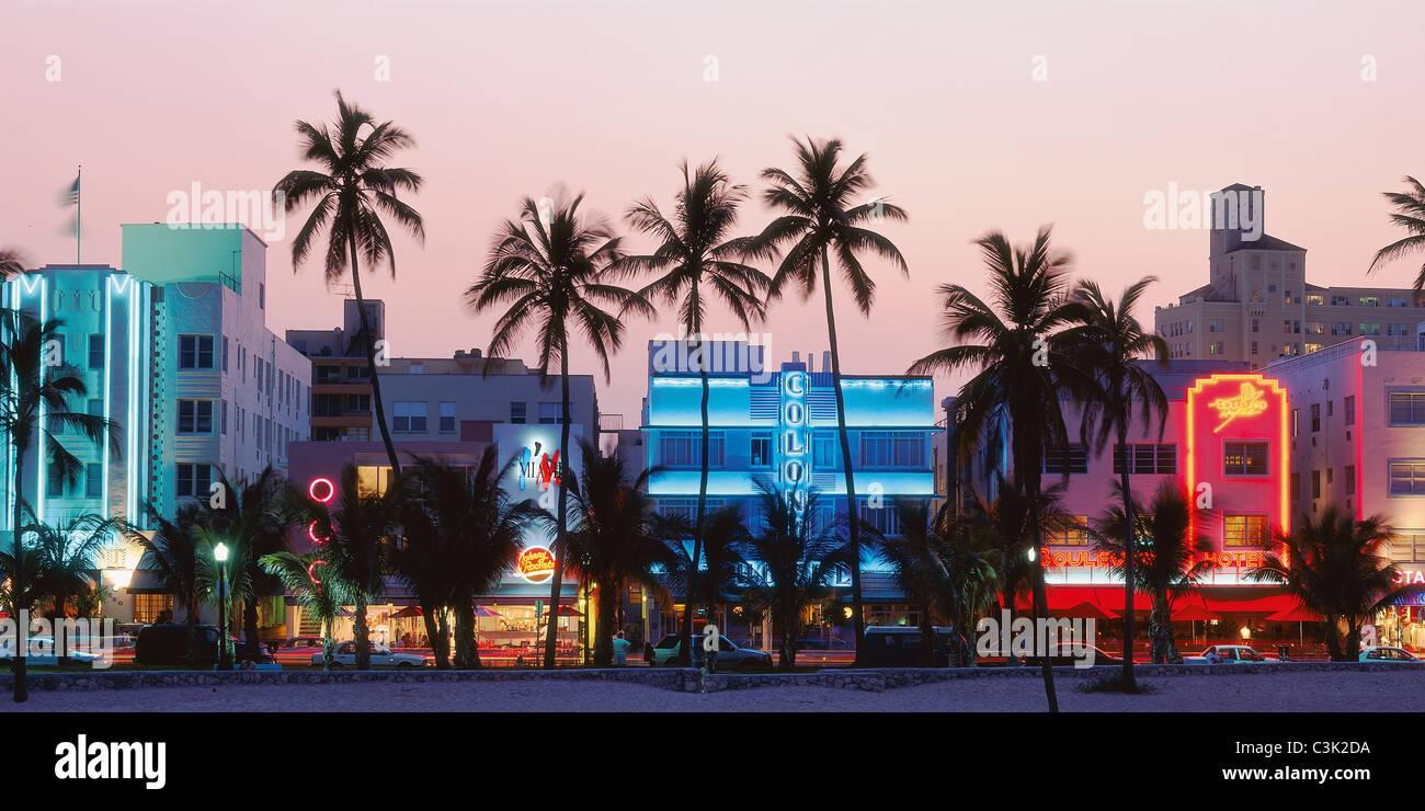 USA, Florida, View of art deco district and miami beach - Stock Image