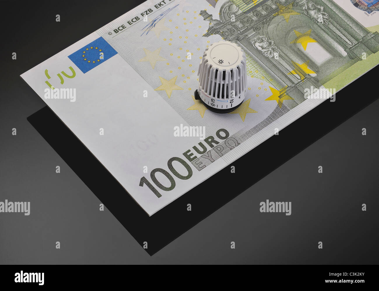 Thermostatic valve on 100 euro note, close up - Stock Image