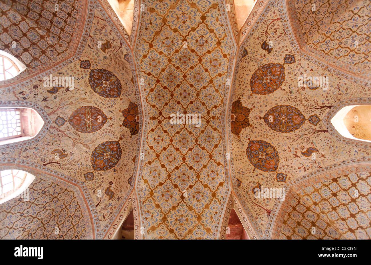 Ceiling inside the Ali Qapu palace, Isfahan, Iran Stock Photo