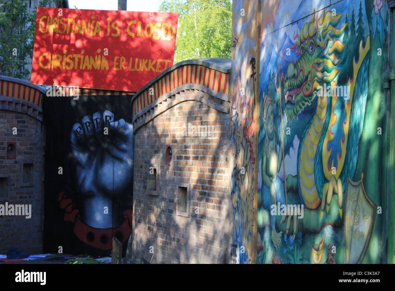Free town Christiania closed it´s doors for public at the end of April 2011 to decide about their future. - Stock Image