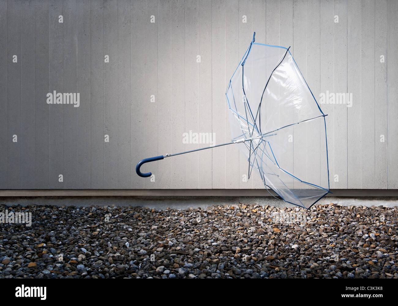 Transparent umbrella lying on ground - Stock Image