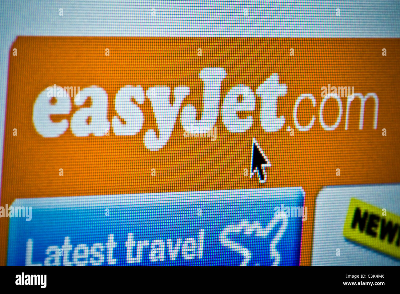 Close up of the easyJet logo as seen on its website. (Editorial use only: print, TV, e-book and editorial - Stock Image