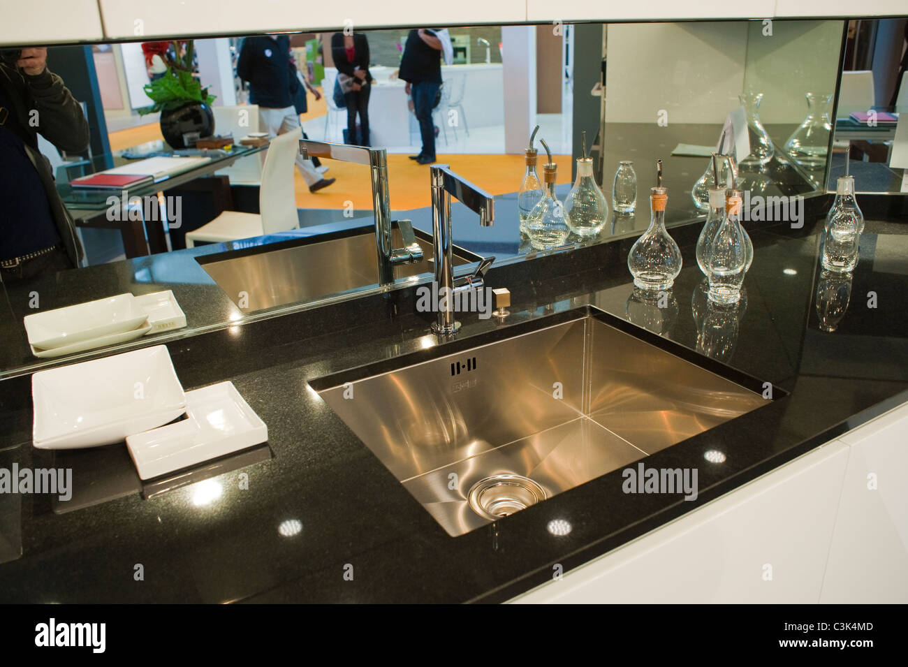 Paris, France, French Design Kitchen Sink at Trade Show, Modern Contemporary Interiors 'Gillis Cuisines' - Stock Image