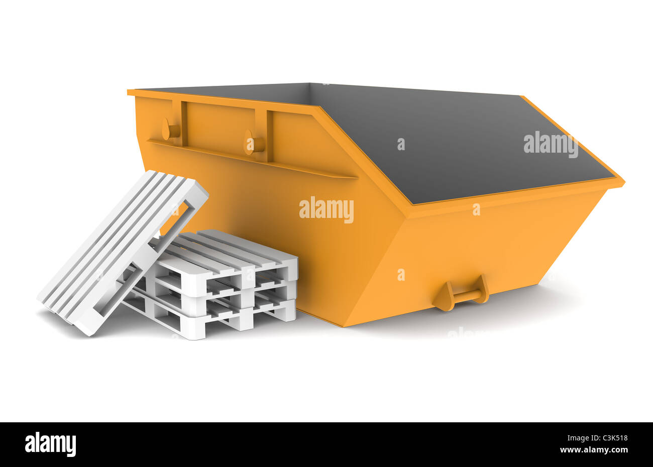 Skip. Skip, Orange with some pallets. Isolated on white. Part of a Warehouse series. - Stock Image