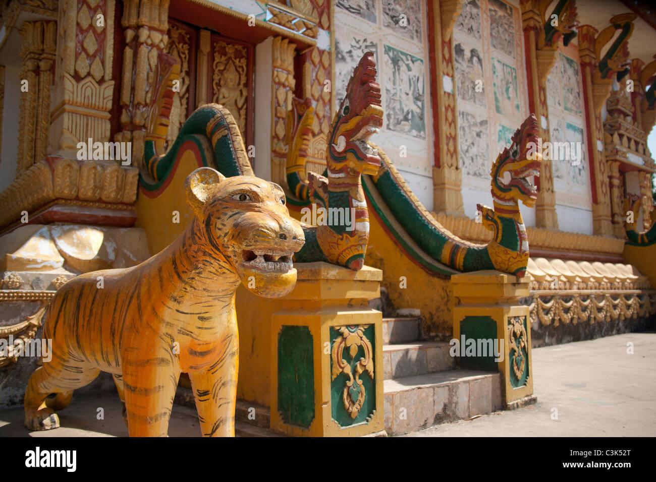 Ornate decorations adorn the entry way to Wat, Phonsavan, Xieng Khouang, Laos Stock Photo