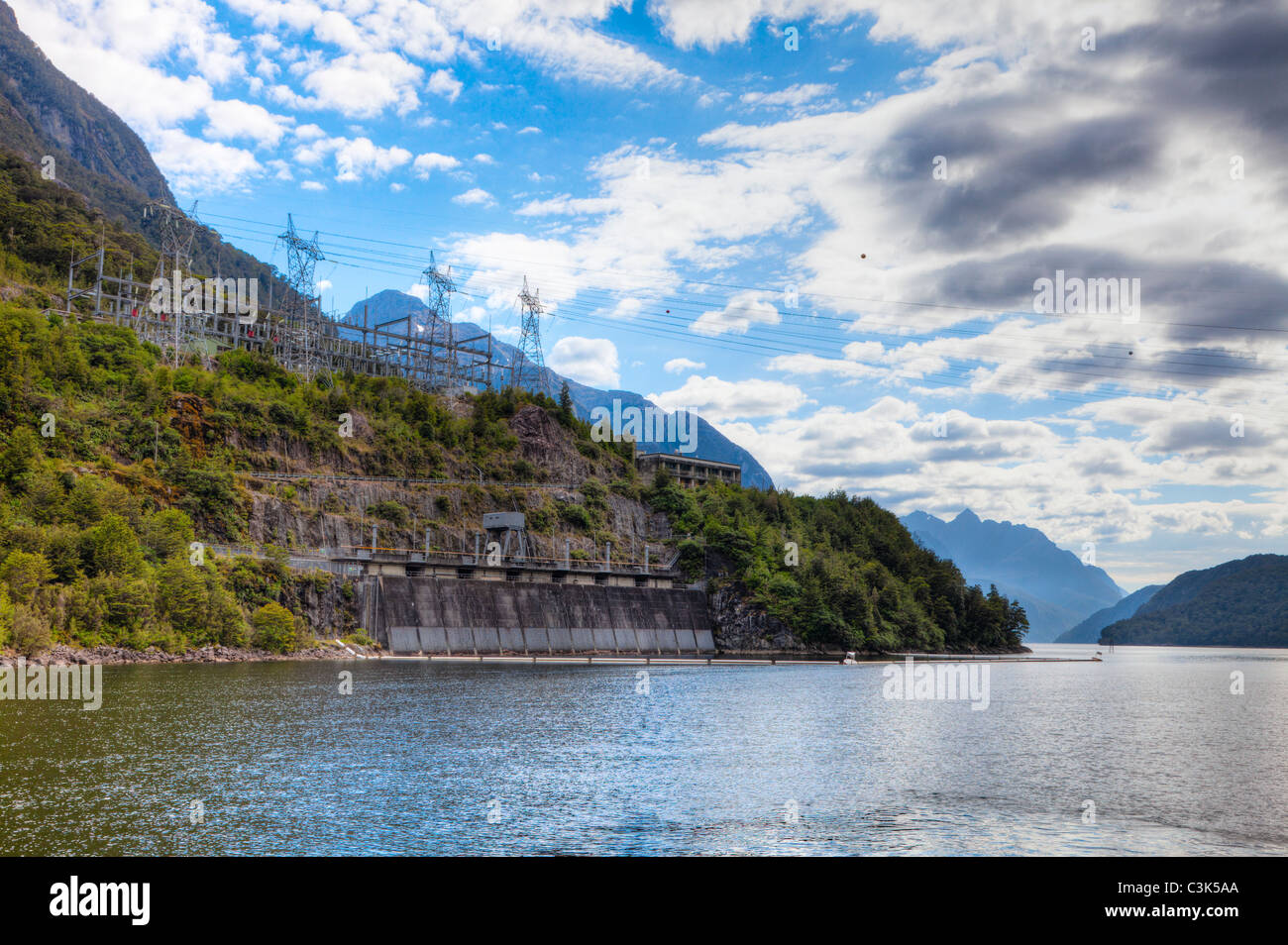 Manapouri hydroelectric power plant in New Zealand - Stock Image