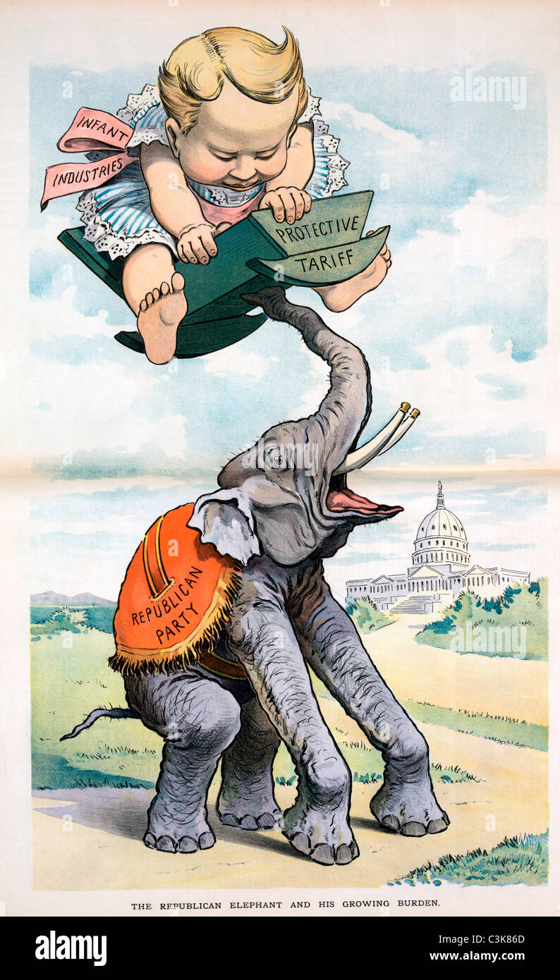 The Republican elephant and his growing burden - 1902 USA Political cartoon - Stock Image