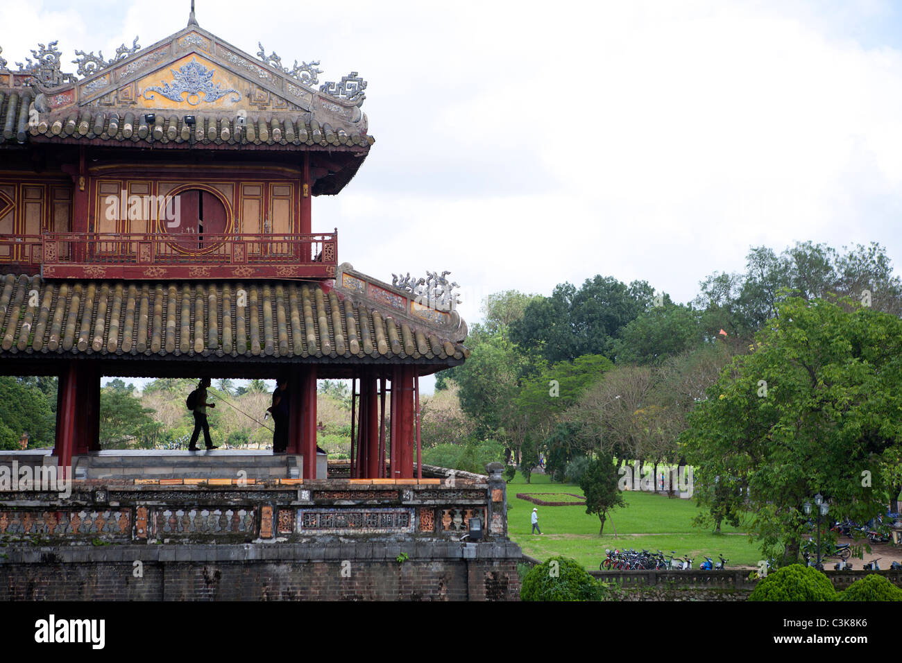 Turret at the Hue Citadel's Ngo Mon (Noontime) Gate - Stock Image