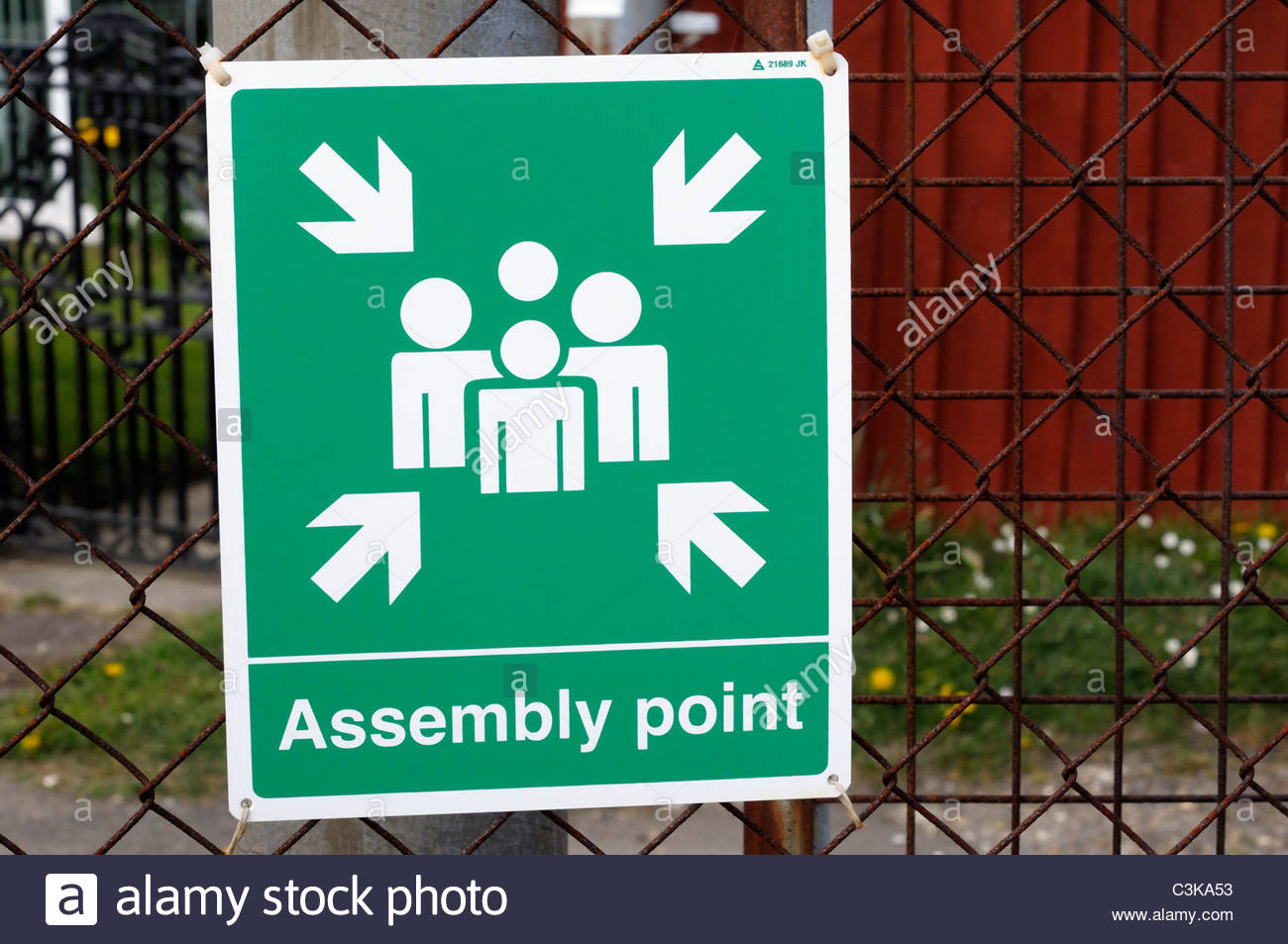 Fire assembly point sign, Sturminster Newton, Dorset England - Stock Image