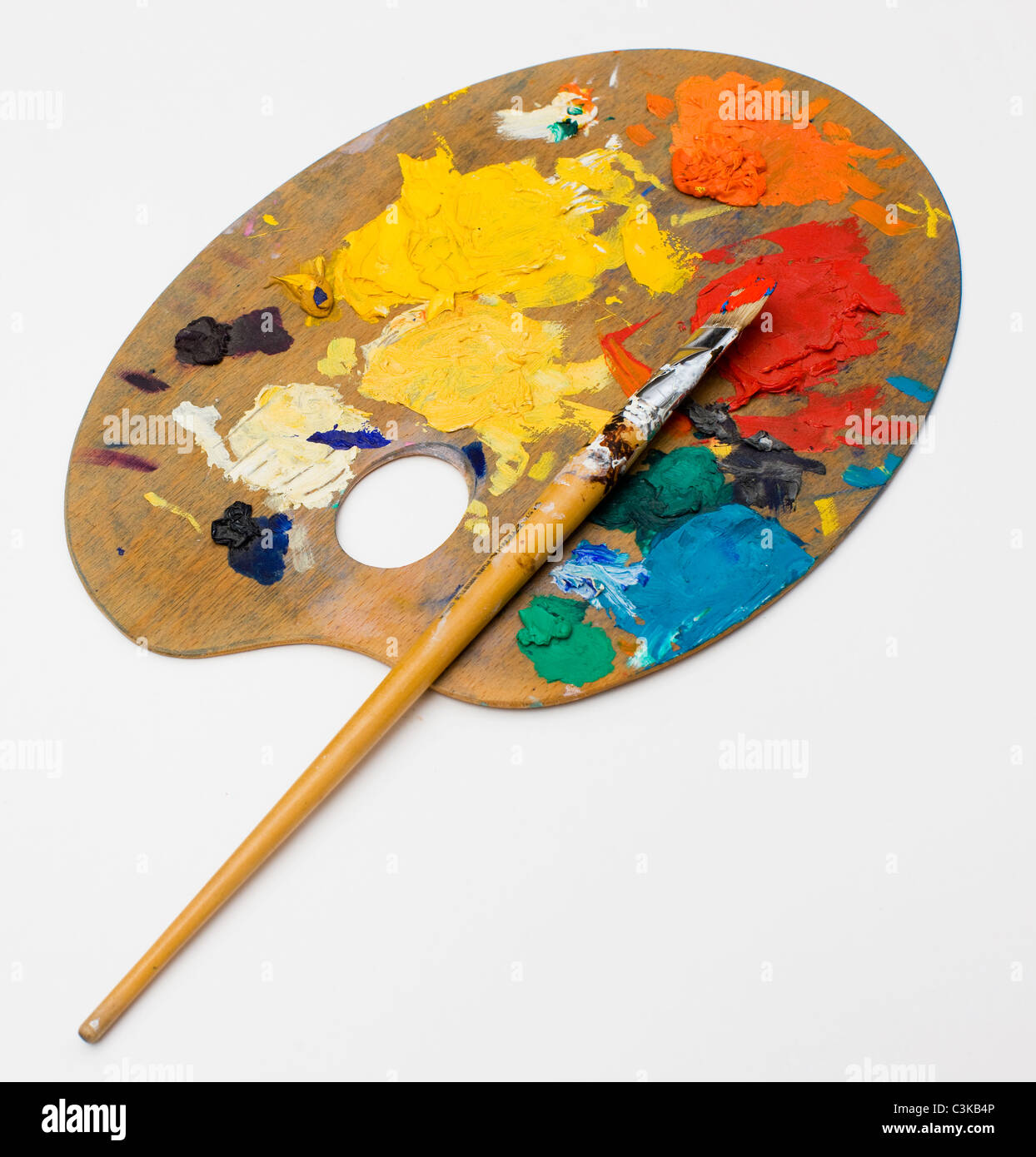 Paintbrush and palette, close-up Stock Photo