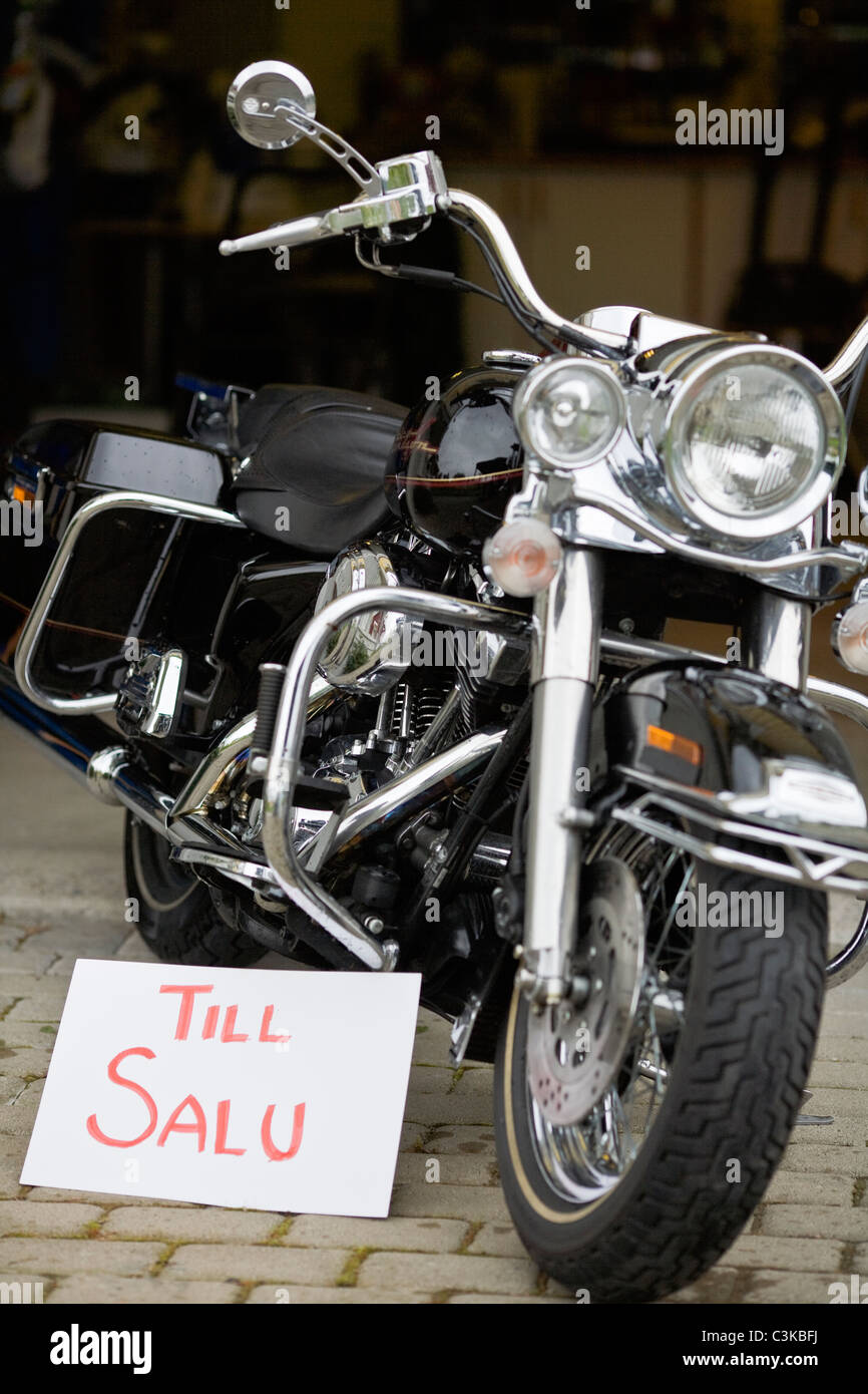 Vintage motorbike with for sale sign - Stock Image