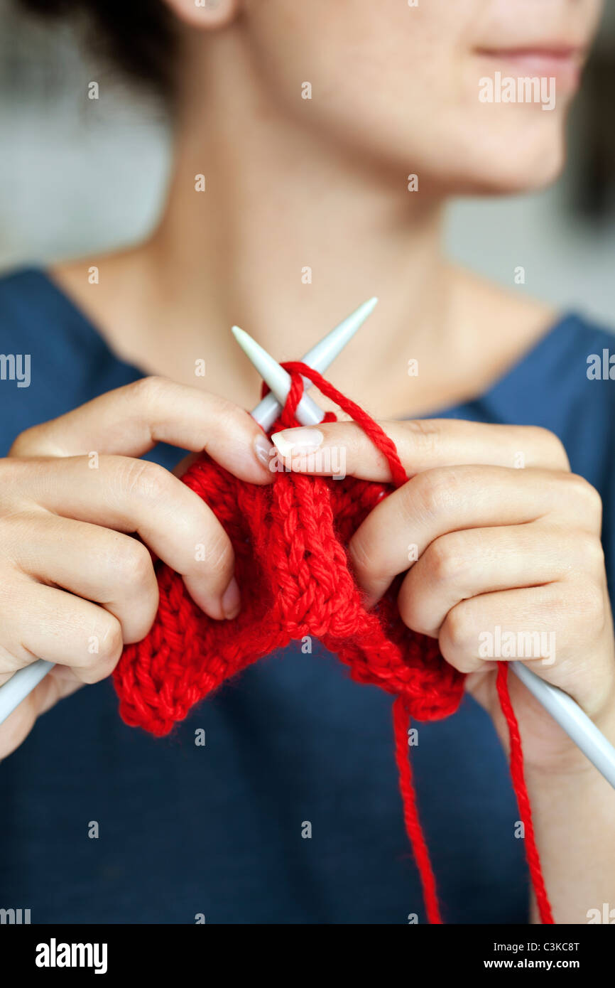 Woman knitting, close-up - Stock Image